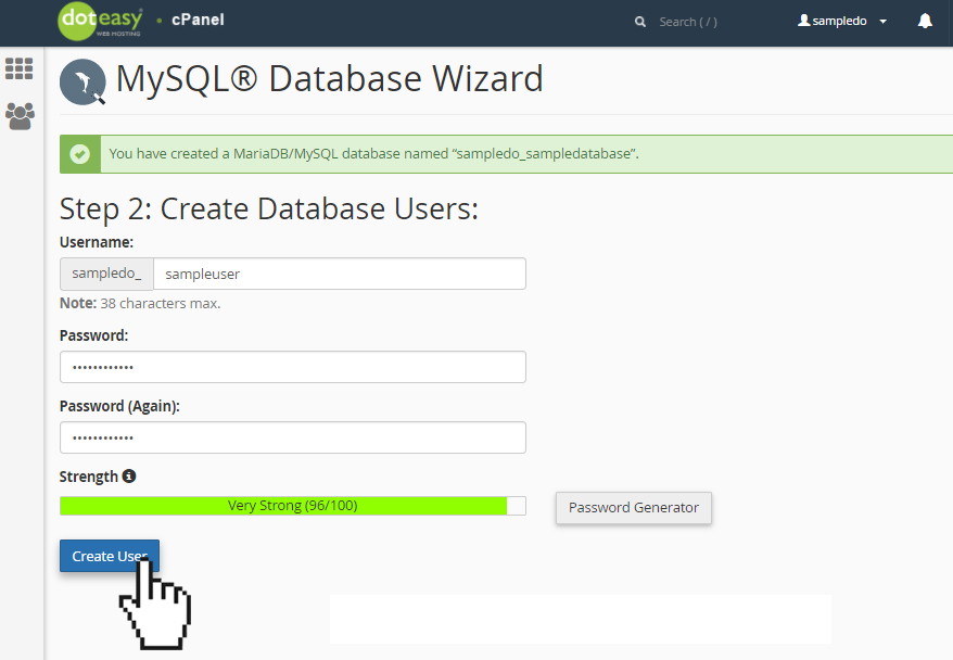 Doteasy cPanel MySQL database create user