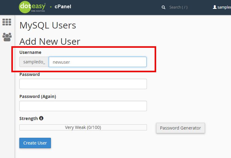 Doteasy cPanel MySQL adding user
