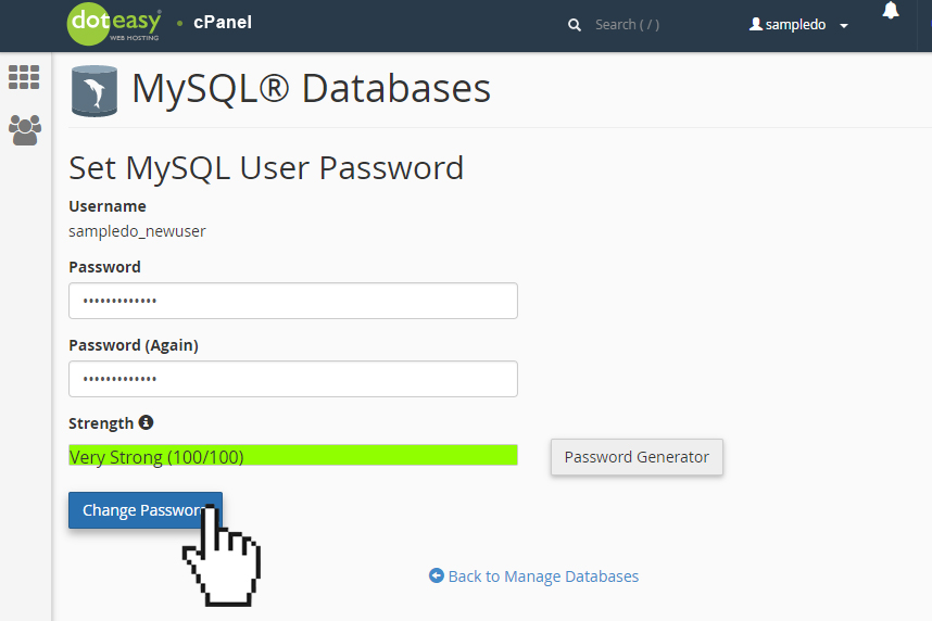 Doteasy cPanel MySQL database user change password