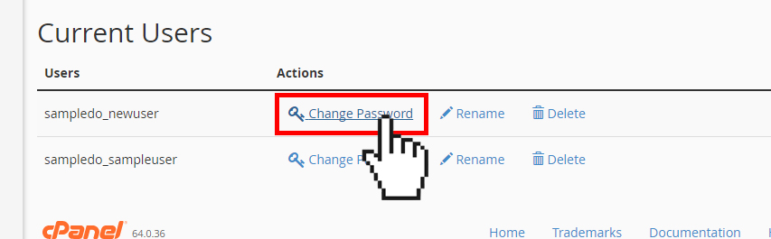 Doteasy cPanel database user change password