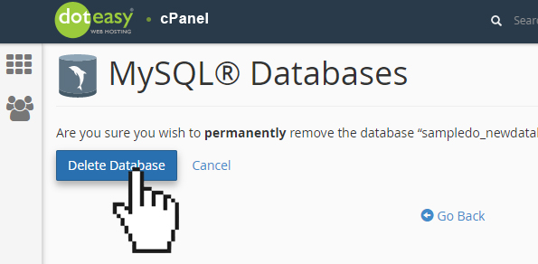 Doteasy cPanel MySQL database confirm delete database