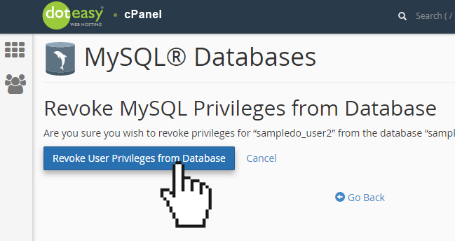 Doteasy cPanel MySQL database revoke user privleges