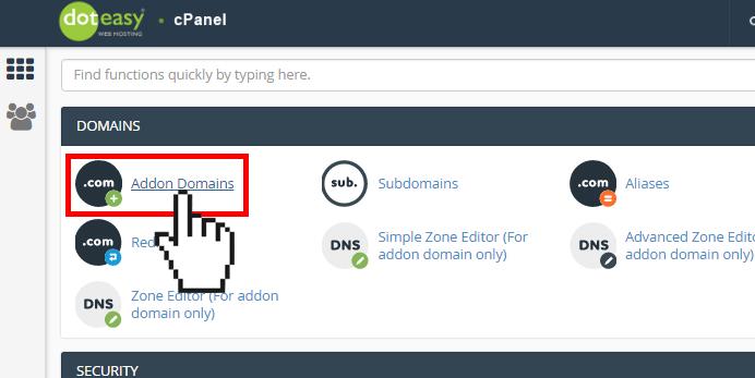 Doteasy cPanel addon domain