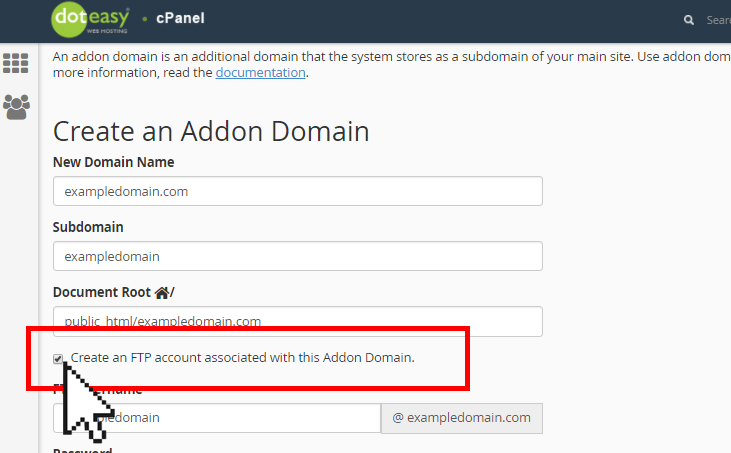 Doteasy cPanel create an FTP account with addon domain