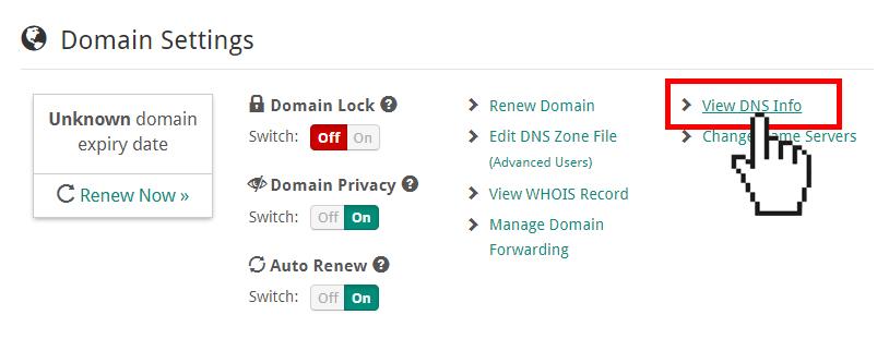 Doteasy Member Zone view DNS info
