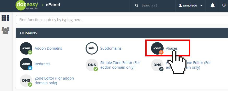 Doteasy cPanel domain aliases