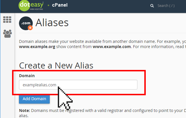 Doteasy cPanel  create new domain alias