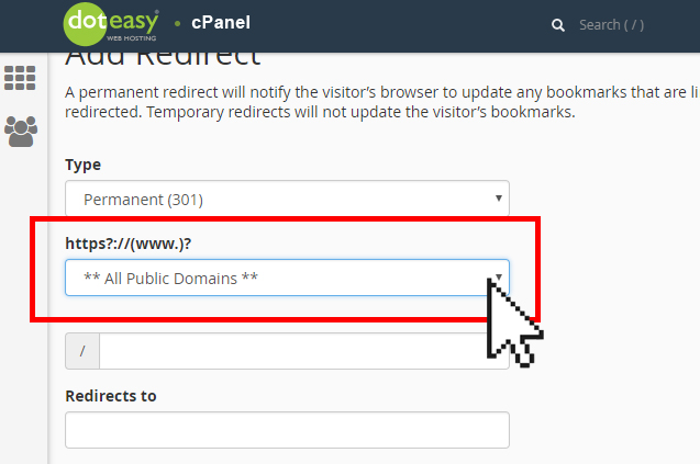 Doteasy cPanel domain redirect select domain
