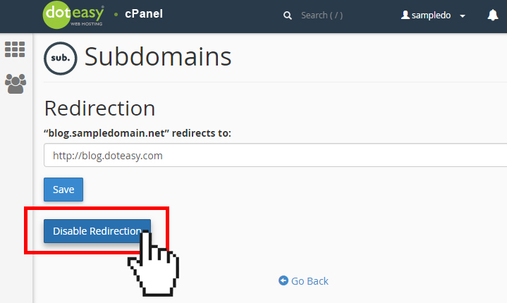 Doteasy cPanel subdomain disable redirection