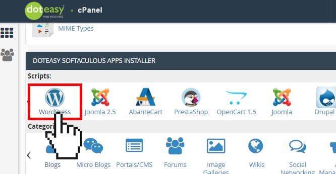 Doteasy cPanel WordPress install