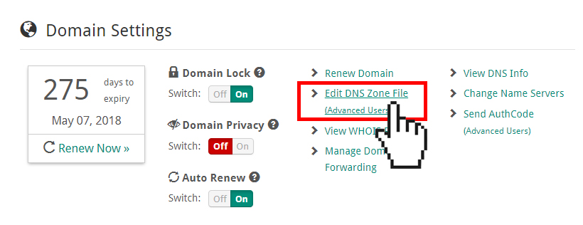 Doteasy Member Zone Edit DNS Zone File