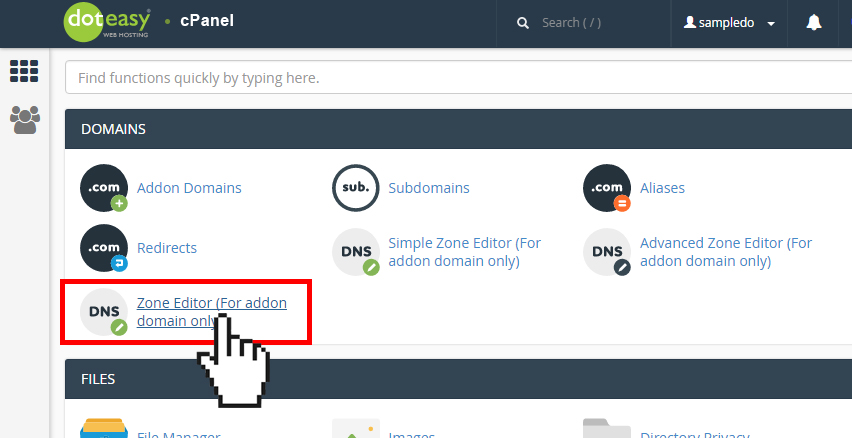 Doteasy cPanel edit zone file