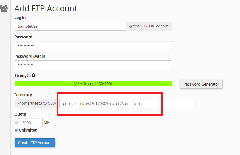 cPanel FTP account auto generate user folder