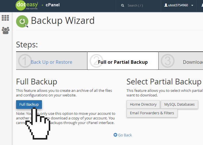 cPanel backup wizard full backup
