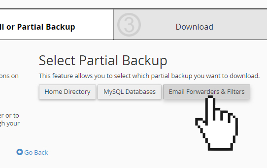 cPanel backup wizard email forwarder and filter