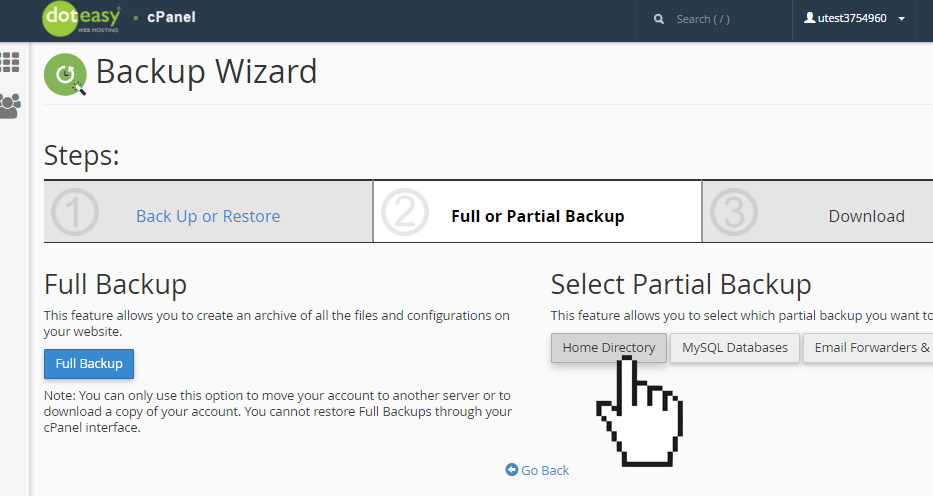 cPanel backup wizard home directory