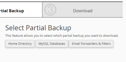 cPanel backup wizard partial backup