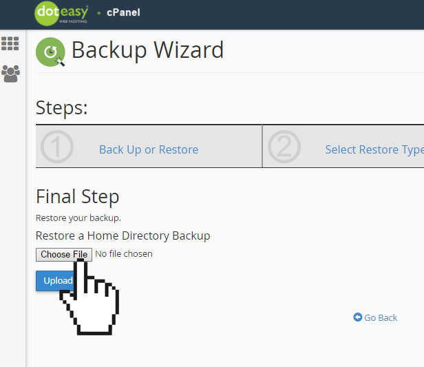 cPanel backup wizard restore file