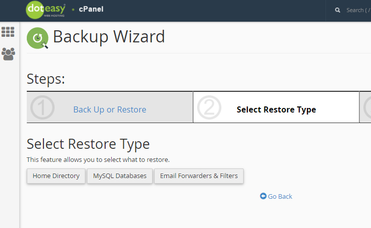 cPanel backup wizard restore type