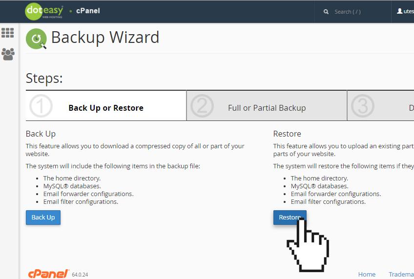 cPanel backup wizard restore