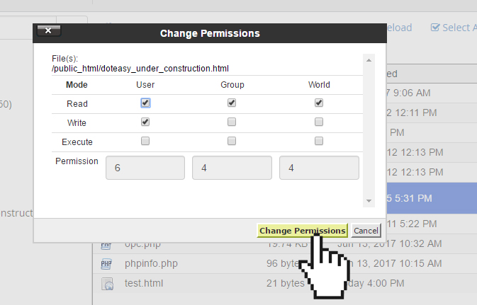 cPanel file permission change permission
