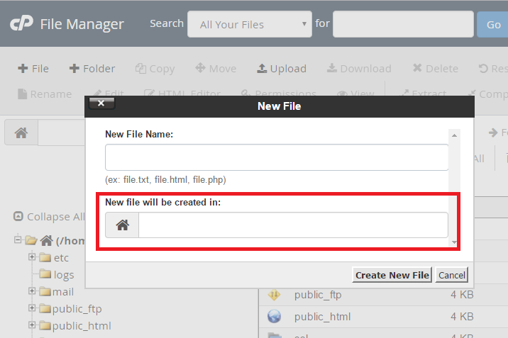 cPanel file manager new file will be created in