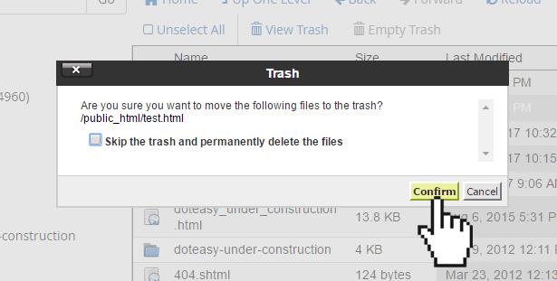cPanel confirm delete