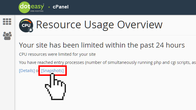 cPanel concurrent resource usages snapshot