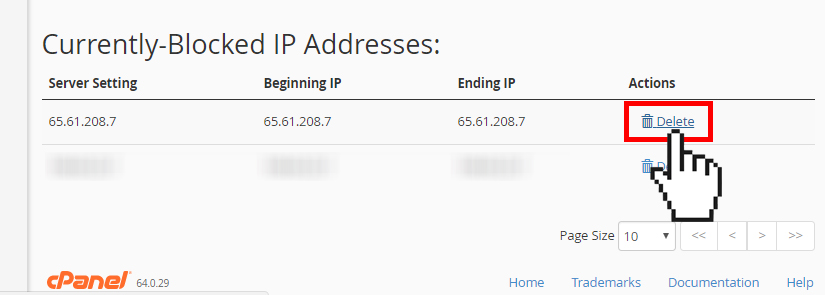 cPanel IP Blocker delete currently blocked IP address
