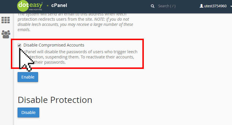 cPanel Leech protection disable compromised accounts