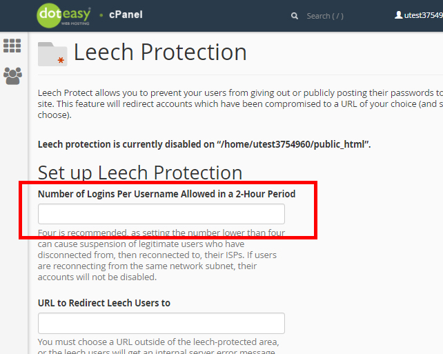 cPanel set up Leech protection