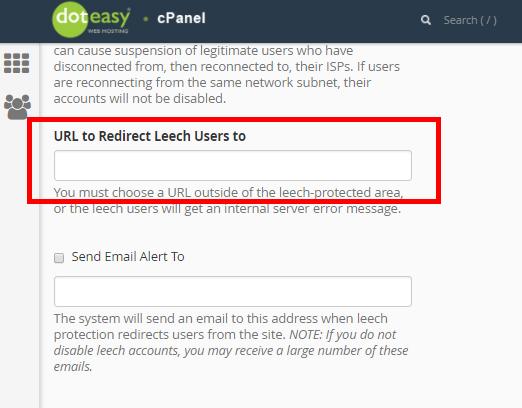cPanel redirect Leech users