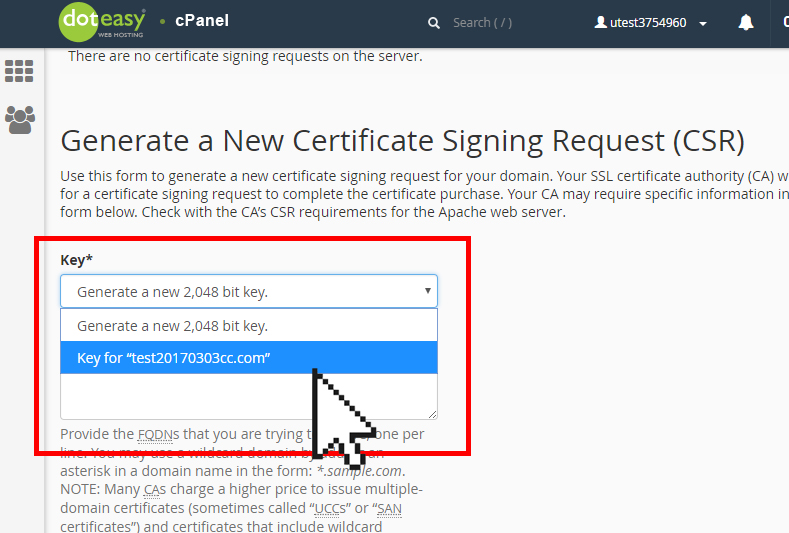cPanel SSL generate a new certificate signing request