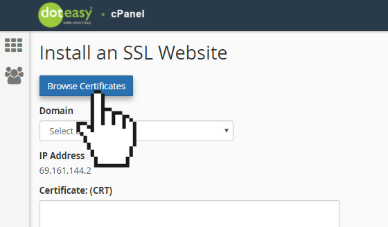 cPanel browse SSL certificate