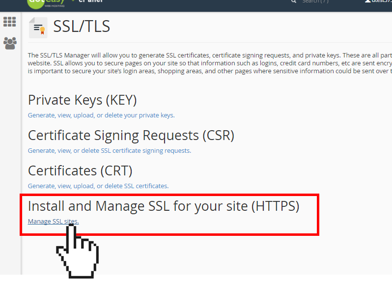cPanel manage SSL site