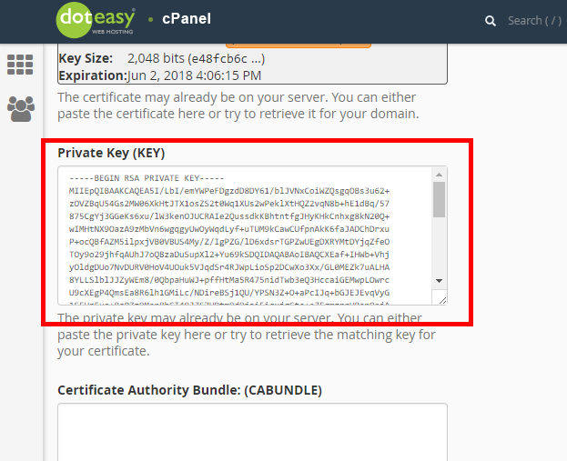 cPanel SSL private key