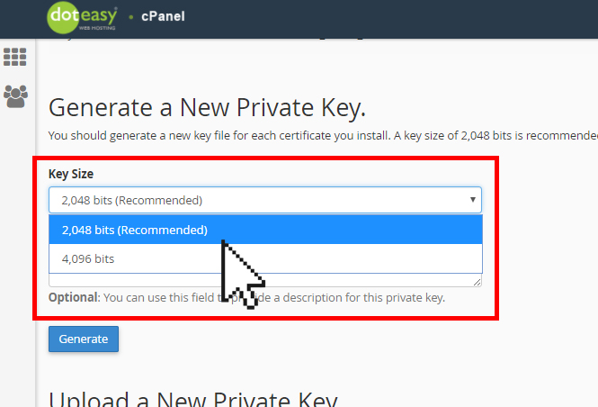 cPanel SSL private key size