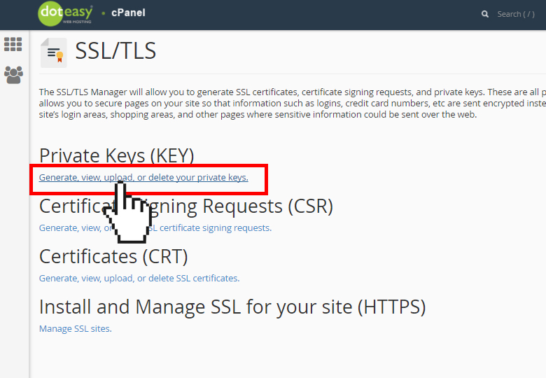 cPanel generate private key