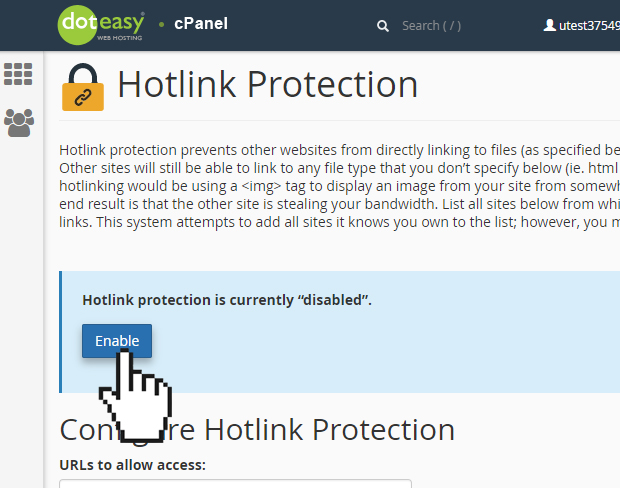 cPanel enable hotlink protection