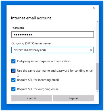 Windows 10 Mail account settings