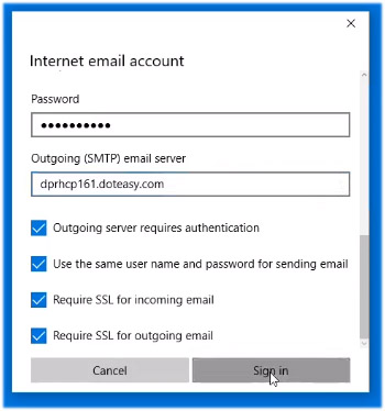 Windows 10 Mail sign in