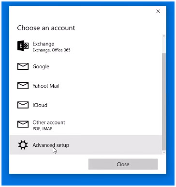 Windows 10 Mail advanced setup