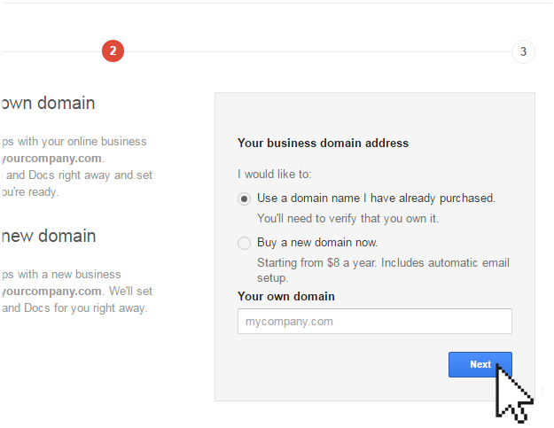 using existing domain Google App