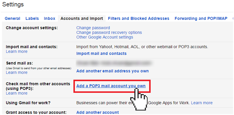 gmail adding pop3 mail