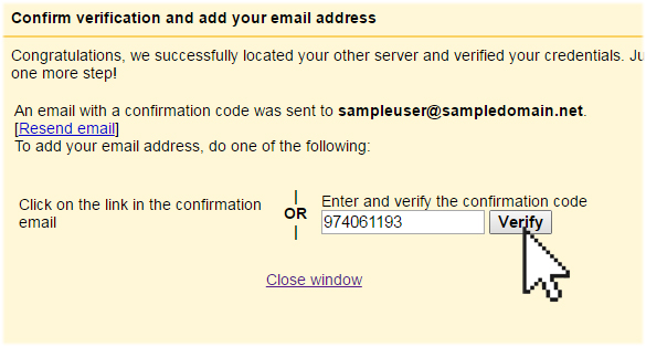 Google confirmation code verify