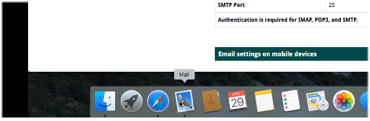Mac Mail on dock