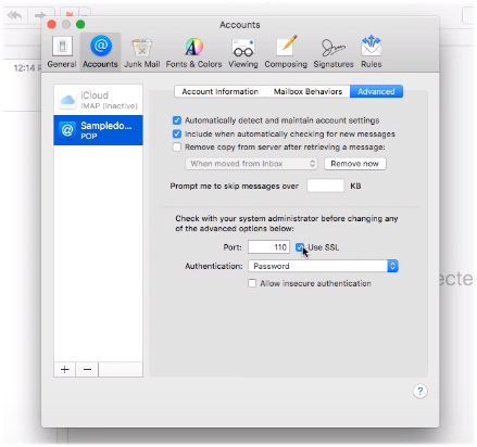 Mac Mail advanced SSL settings