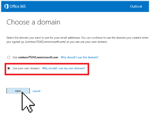 use your own domain name Office 365