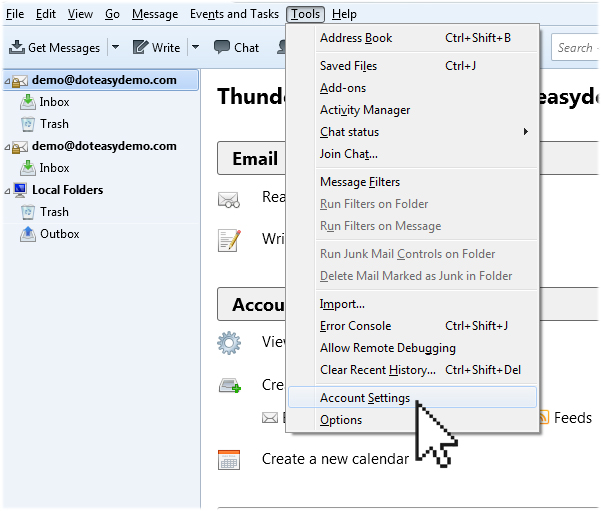 Thunderbird account settings