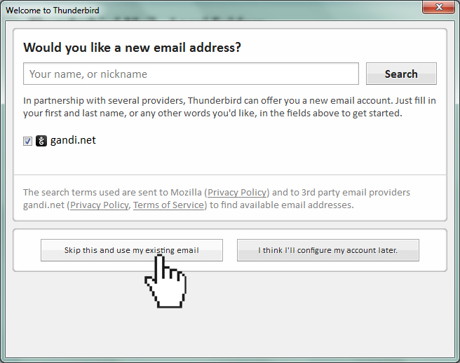 Thunderbird skip and use existing email